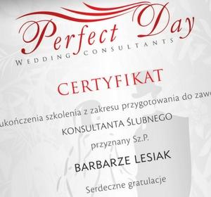 Certyfikat ukończenia szkolenia z przygotowania do zawodu Konsultanta ślubnego